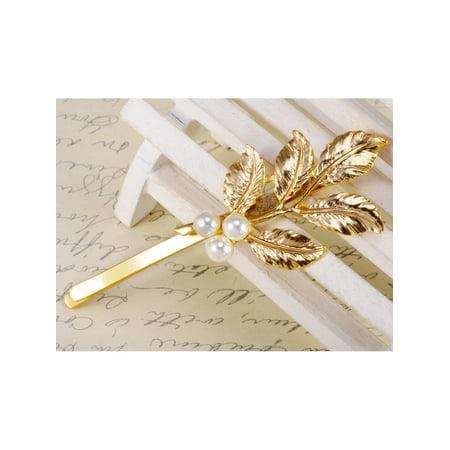 Golden Metal Tone Pearl Embellished Single Leaf Branch Fashion Hair Pin