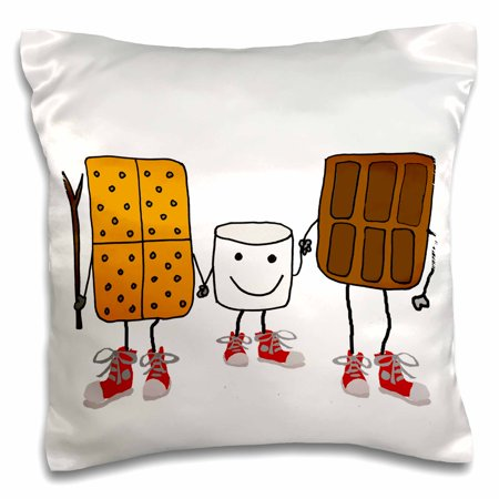 3dRose Funny Cute Smores Cartoon with Chocolate and Marshmallow - Pillow Case, 16 by - Cute Marshmallows