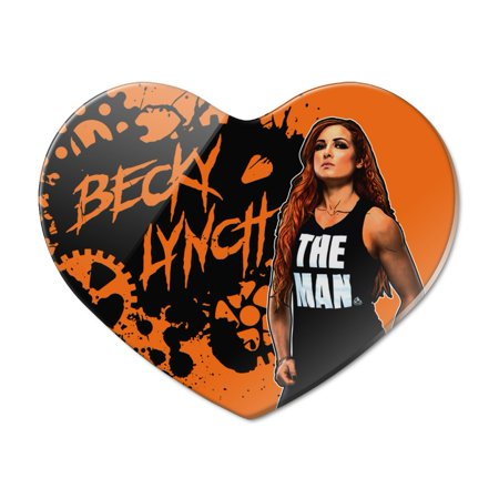 WWE Becky Lynch Splatter Background Heart Acrylic Fridge Refrigerator Magnet Heart Fridge Magnet