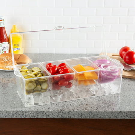 Cold Condiment Tray-Chilled Serving Container with Ice Chamber, 4 Compartments, Lid-For Dips, Dressings, Fruit, Veggies, and More by Classic Cuisine