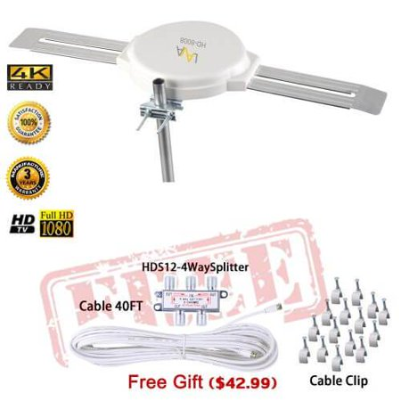 LAVA HD-8008 OMNIPRO OMNI-DIRECTIONA FIVE STAR 200 MILES OUTDOOR 4K ANTENNA Plus Kit - Omni Antenna Kit
