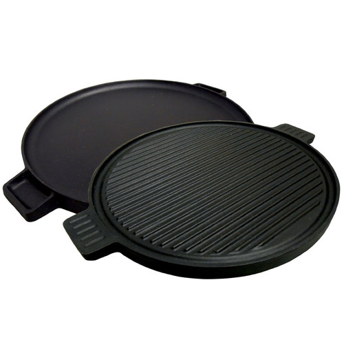 "King Kooker #CIRG14S Pre-Seasoned Cast Iron 14"" Round 2-Sided Griddle"