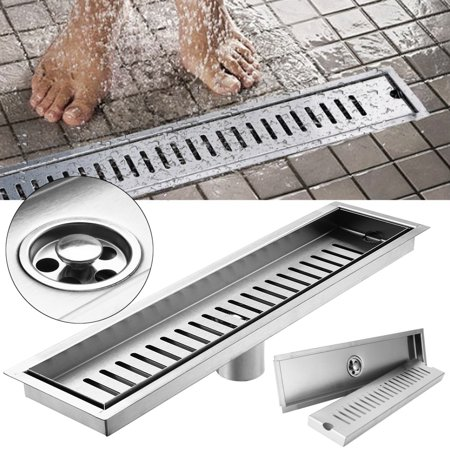 Brushed Stainless Steel Shower Floor Drain with Removable Cover,Shower Drain Grate Bathroom Linear,15.7-Inch Long