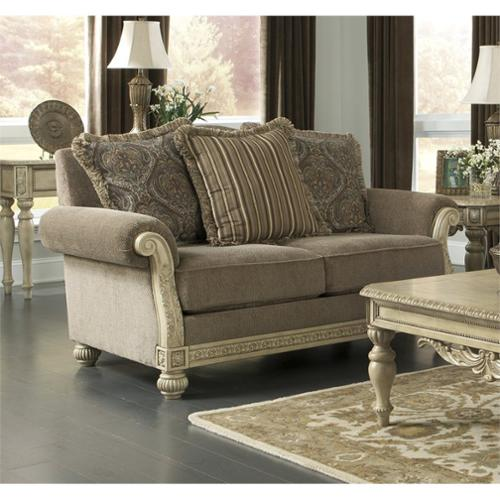 Old World Style Loveseat In Platinum Signature Design By Ashley