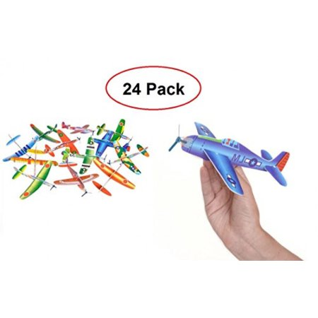 Flying Glider Plane – 24 Assorted Styrofoam Glider Airplane - Fun Gift, Party Favors, Party Toys, Goody Bag Favors, Carnival Prizes, – By Kidsco - Airplane Party Ideas