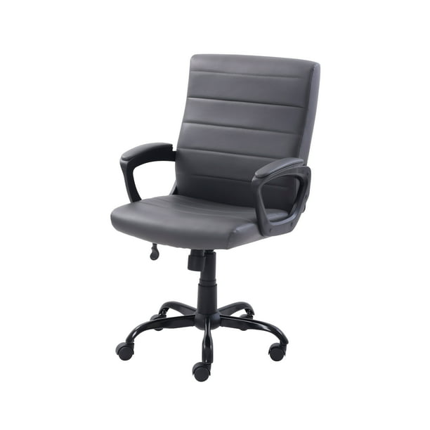 Mainstays Bonded Leather Mid-Back Manager's Office Chair, Gray