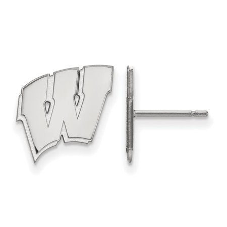 Wisconsin Small (1/2 Inch) Post Earrings (14k White Gold)