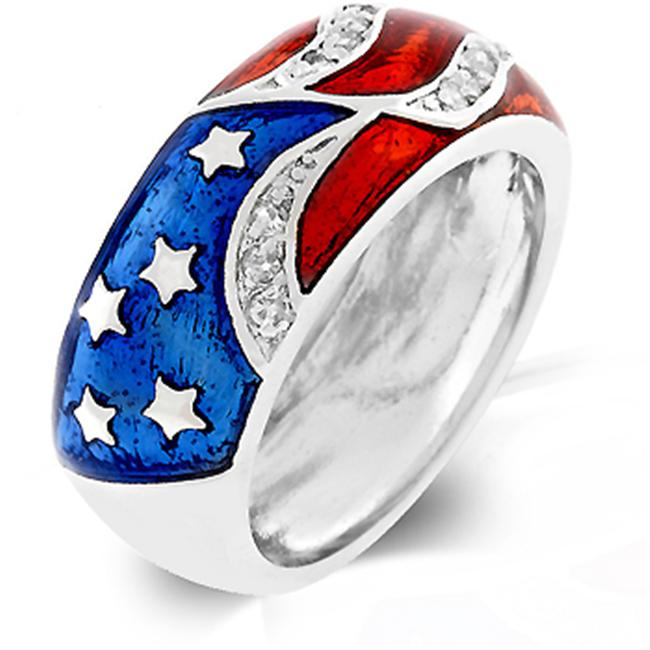 Kate Bissett R07830R-C01-09 White Gold Rhodium American Flag Enamel Ring with Red and Blue Enamel and Silvertone - Size 9