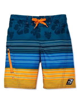 Laguna Boys 8-20 UPF 50 Tropical Stripe Zippered Pocket Swim Trunks