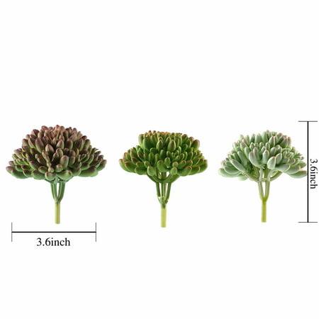 BalsaCircle 3 pcs 4-Inch Assorted Artificial Faux Jelly Bean Succulent Picks Plants Wedding Arrangement Centerpieces Decorations