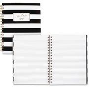 "Cambridge Fashion Hardcover Business Notebook, 80 Sheets, 7"" x 9 1/2"", Black/White Stripe - 59012"