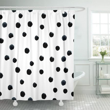 PKNMT Pattern Watercolor Black and White Random Polka Dot Hand Polyester Shower Curtain 60x72 inches