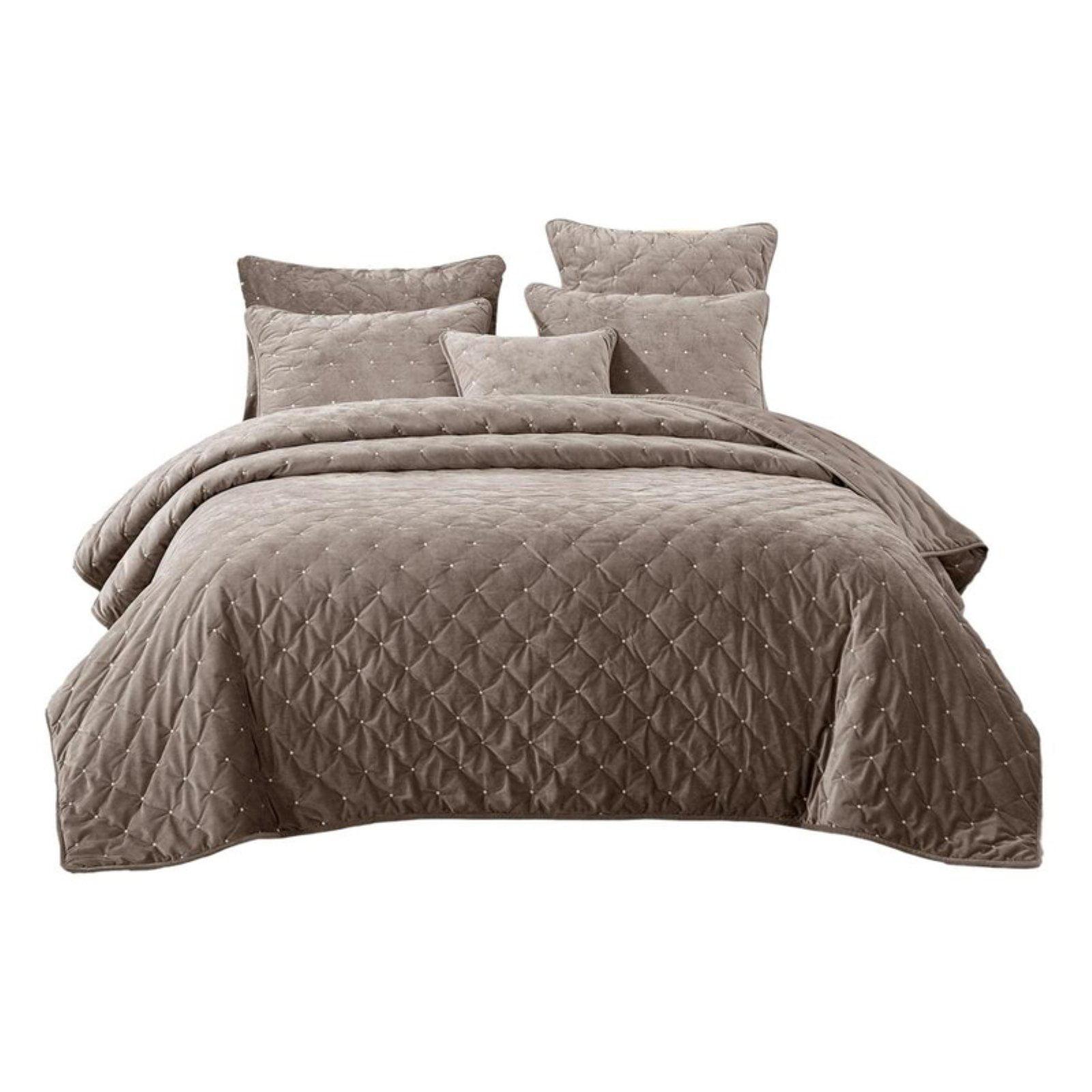 Velvet Plush Diamond Tufted Bedspread Set by Tache Home Fashion