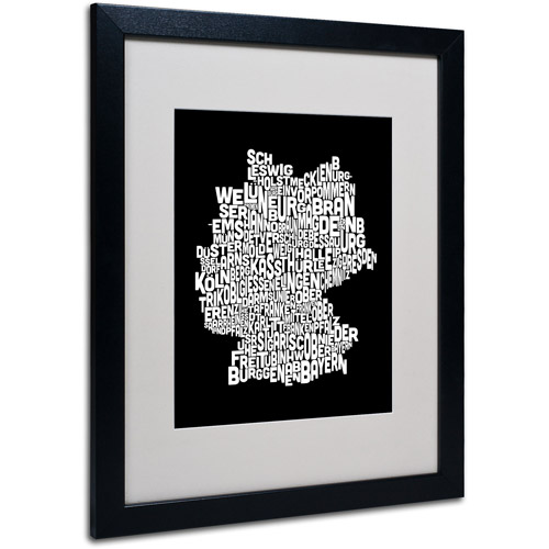 "Trademark Fine Art ""Germany Regions Map"" Matted Framed Art by Michael Tompsett"