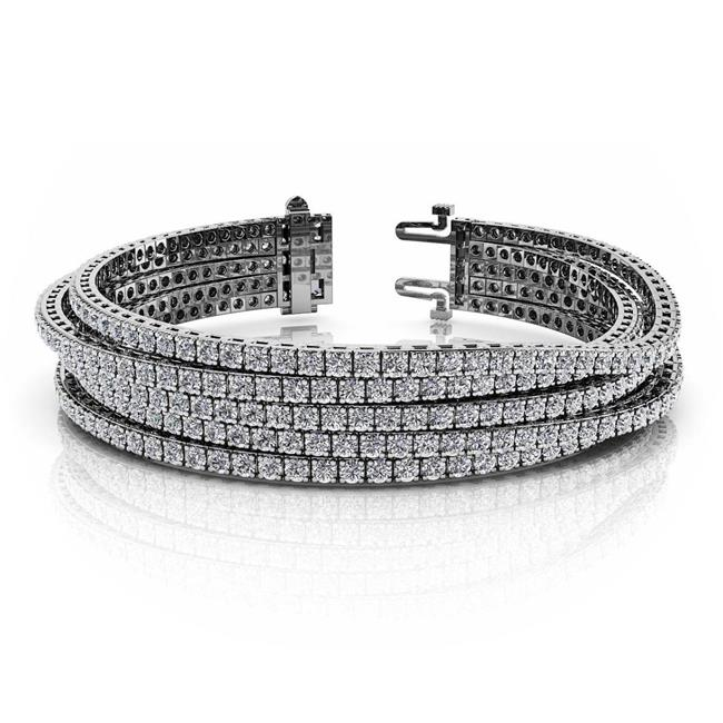 Harry Chad HC10563 14.00 CT Multi Row Round Cut Diamonds Tennis Bracelet - White Gold 14K, Color G - VS2 Clarity - image 1 of 1