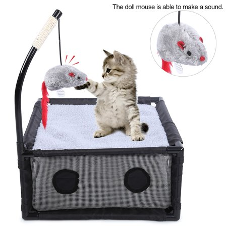Lv. life Gray Mesh Small House Cat Bed Activity Game Center with Scratching Toy Pet Cats Supplies, Pet Cat Supply, Cat -