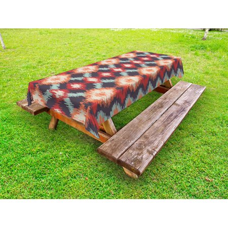Ikat Outdoor Tablecloth, Oriental Double Batik Tie-Dye Weaving Style Graphic Ikat Forms Cultural Artisan, Decorative Washable Fabric Picnic Table Cloth, 58 X 84 Inches,Red Orange Teal, by Ambesonne - Tie Dye Tablecloth