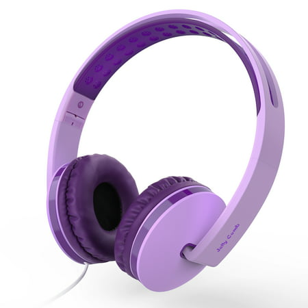 On Ear Headphones with Mic, Kids Headphones,Jelly Comb Foldable Corded Headphones Wired Headsets with Microphone, Volume Control for Cell Phone, Tablet, PC, Laptop, MP3/4, Video Game (Purple) ()