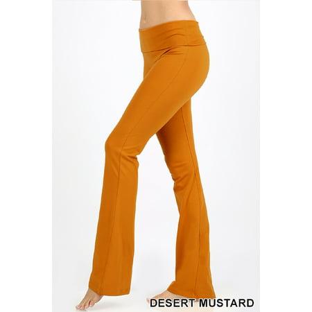 Zenana Women Fold Over Waist Cotton Stretch Flare Leg Boot Cut Yoga Pants Leggings Desert Mustard Small Boot Cut Flare
