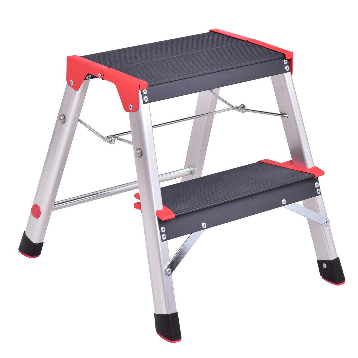 Costway 2 Step Aluminum Lightweight Ladder Folding Non