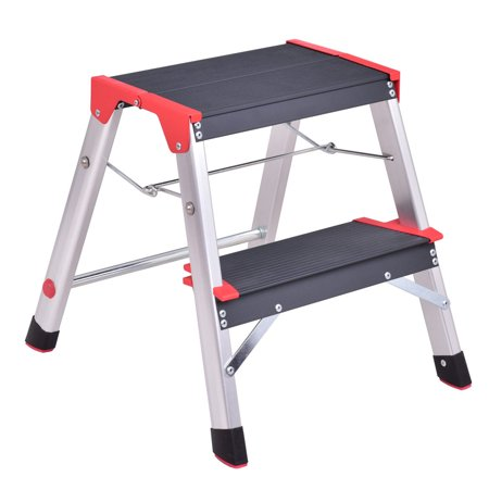 Costway 2 Step Aluminum Lightweight Ladder Folding Non