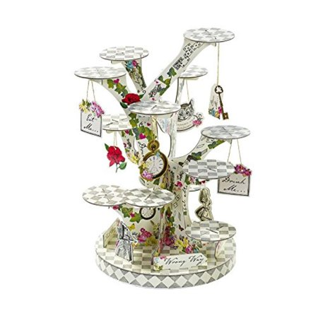 talking tables alice in wonderland party supplies | cupcake stand centrepiece | great for mad hatter tea party, birthday party and baby shower | paper (Mad Hatters Tea Party Outfits)