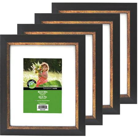 set of 4 picture frames two tone bronze espresso. Black Bedroom Furniture Sets. Home Design Ideas