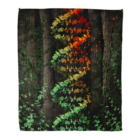 HATIART Throw Blanket Warm Cozy Print Flannel DNA Damage Symbol As Dark Tree Forest Growing Green Vine in The Shape Comfortable Soft for Bed Sofa and Couch 50x60 Inches - image 1 de 1