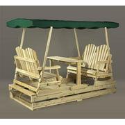 "94"" Natural Cedar Deluxe Wooden Outdoor Garden Double Glider with Green Canopy"