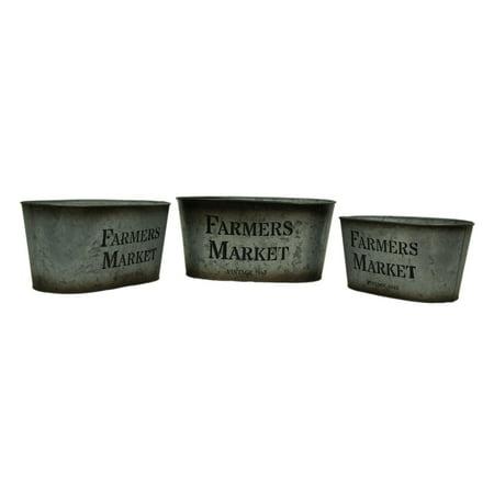 Galvanized Finish Vintage Farmers Market 3 Piece Oval Tin Set