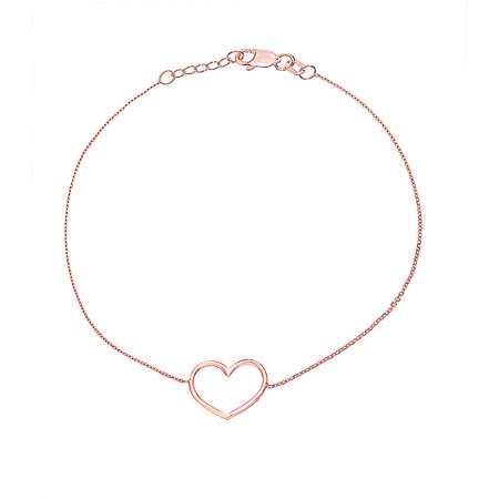 14K Rose Gold Open Heart Bracelet. Adjustable Cable Chain 7