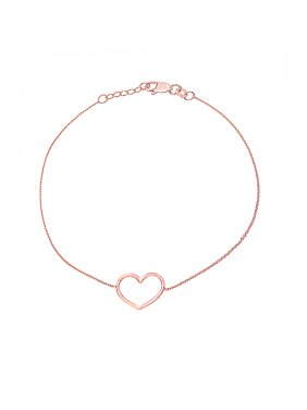 """14K Rose Gold Open Heart Bracelet. Adjustable Cable Chain 7"""" to 7.50"""""""
