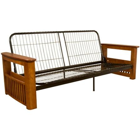 Catalina Storage Arm Style Futon Sofa Sleeper Bed Frame, Full-size, Medium Oak Arms