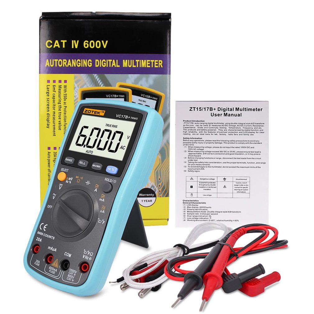 Vc17b Digital Multimeter 6000 Counts Ac Dc Ammeter Voltmeter Circuit Portable Meter