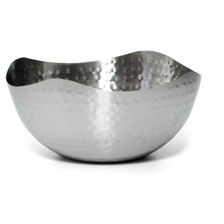 Bezrat Hammered Stainless Steel Serving Bowl –Multipurpose Decorative Metal Wave Bowl (11.8