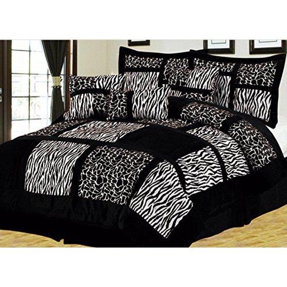 empire home safari 7 piece black white king size comforter set on sale. Black Bedroom Furniture Sets. Home Design Ideas