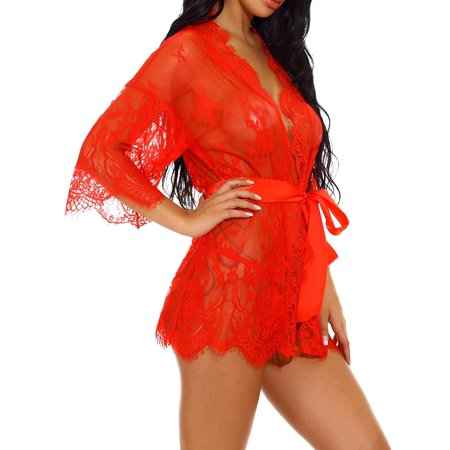 Womens Lingerie Underwear Lace Pajamas Midnight Mesh Bath Robes with Thong Belt XL - image 2 de 5