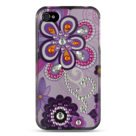 Insten Spot Diamond Bling Hard Back Cover Case For Apple iPhone 4 / 4S - Purple Violet 4s White Hard Case