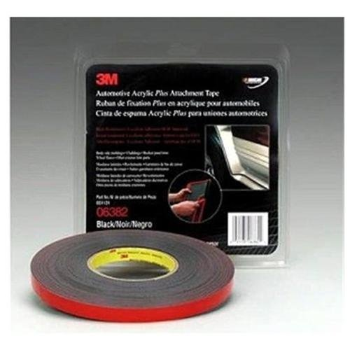 "3m 06382 Automotive Acrylic Plus Attachment Tape, Black, 1/2"" X 20 Yds."