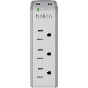 Belkin 3-Outlet Mini Surge Protector with USB Ports (2.1 AMP) - 3 x NEMA 5-15R, 2 x USB - 918 J 918J 43DB USB -
