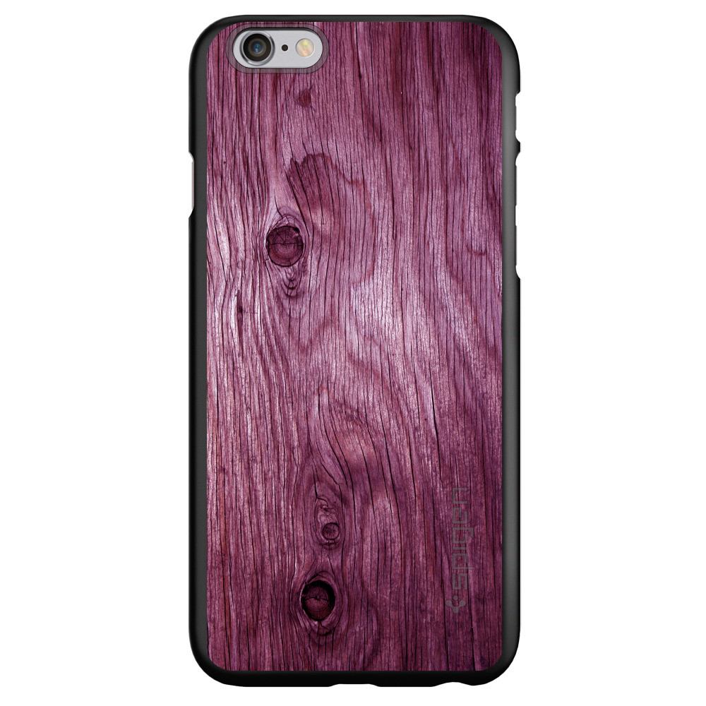 "CUSTOM Black Spigen Thin Fit Case for Apple iPhone 6 PLUS / 6S PLUS (5.5"" Screen) - Fuchsia Weathered Wood Grain"
