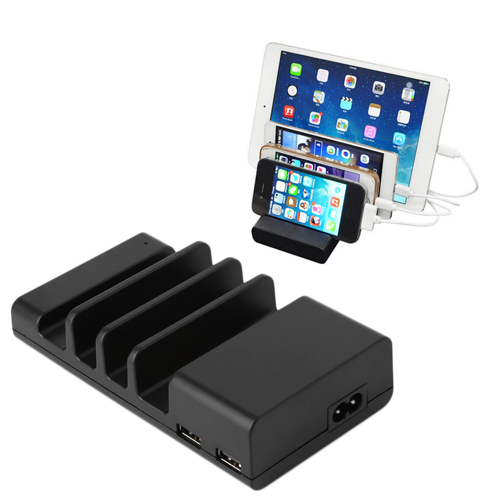 4-Port USB Hub Charging Dock Station Charger Stand Organizer For Tablet