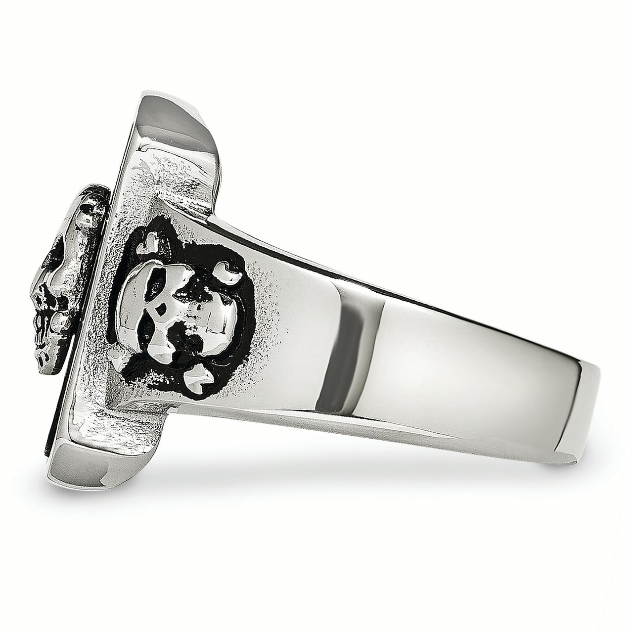 Stainless Steel Black Plated Skulls Band Ring Size 9.00 Skull Fashion Jewelry Gifts For Women For Her - image 4 of 7
