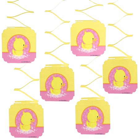 Pink Ducky Duck - Girl Baby Shower or Birthday Party Hanging Decorations - 6 Count