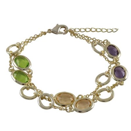 Gai 9.5 Gem (Dlux Jewels 7.25 in. Multi Color Faceted Glass 8.9 x 10.9 mm Ovals & Gold Open 7.9 x 9.5 mm Ovals Alternating Gold Plated Brass Chain with Two Row)