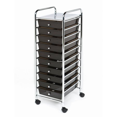 10-Drawer Organizer Cart, Black by Seville Classics