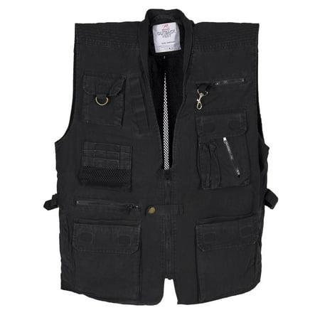Black Deluxe Safari Outback Vest for Travel, Sportsmen, Concealed Carry, 2XL Outback Canvas Vest