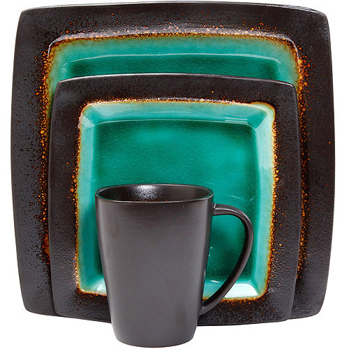 Gibson Everyday Ocean Oasis 32-Piece Dinnerware Set, Turquoise