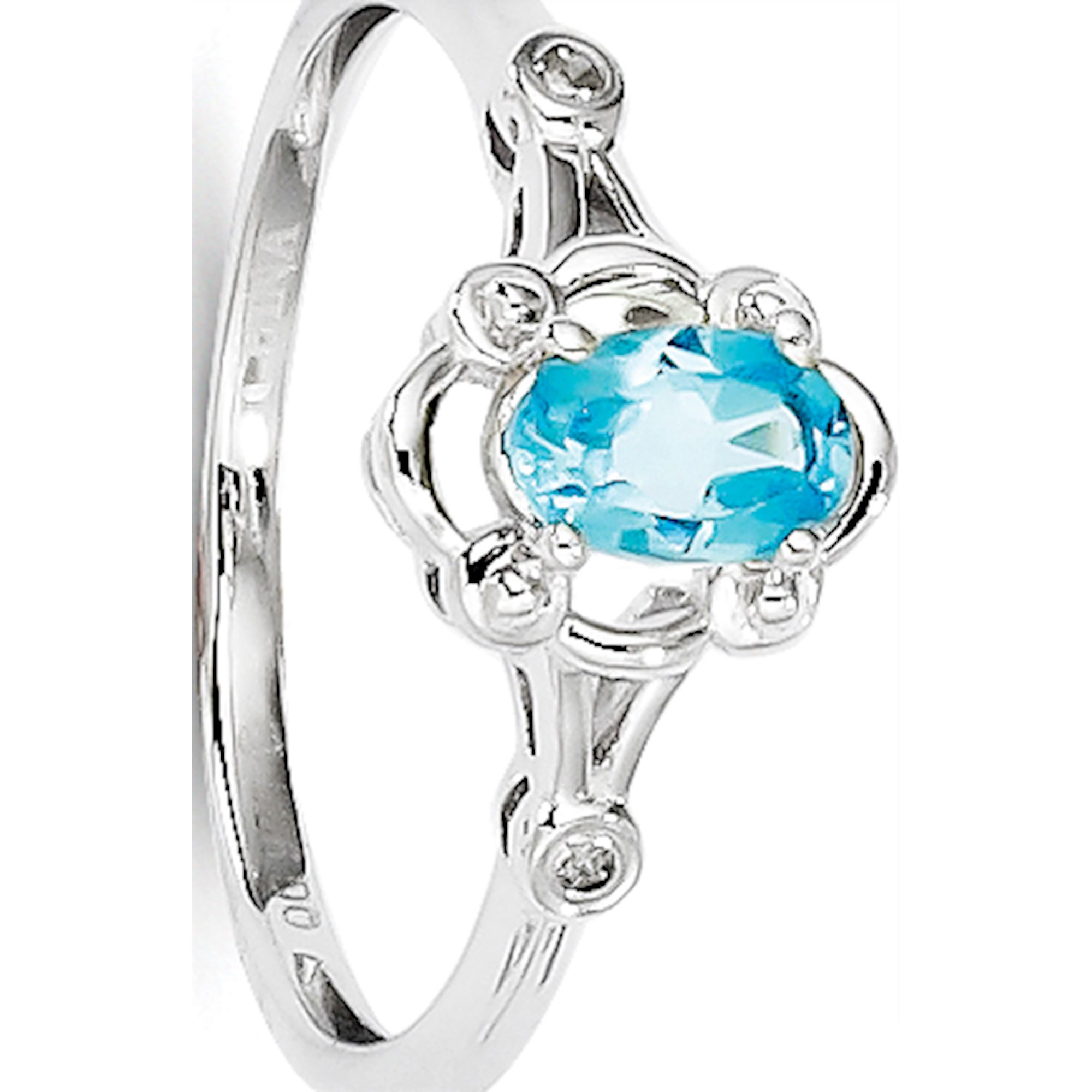 2dcbd981c5ca5 Sterling Silver Rhodium-plated Light Swiss Blue Topaz & Diamond Ring ...