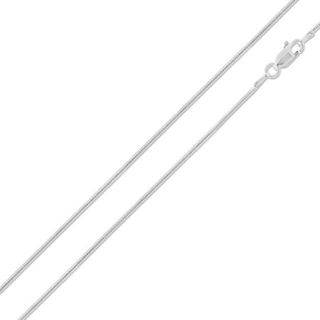 (Sterling Silver Italian Chain Necklace 1.2mm Round Snake Chain ( 10, 16, 18, 20, 22, 24, 30 Inch ) - 30